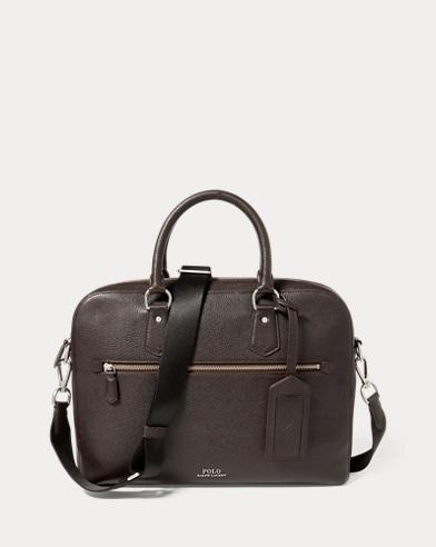 폴로 랄프로렌 노트북 가방 다크 브라운 Polo Ralph Lauren Pebbled Leather Briefcase,Dark Brown