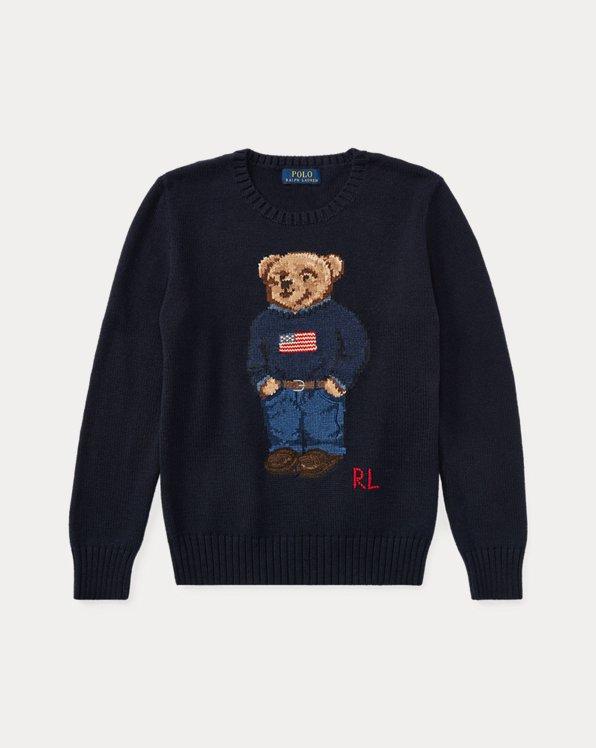 폴로 랄프로렌 보이즈 스웨터 Polo Ralph Lauren Polo Bear Cotton Sweater,헌터 Hunter Navy