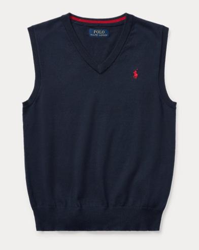 폴로 랄프로렌 Polo Ralph Lauren Cotton V-Neck Sweater Vest,헌터 Hunter Navy