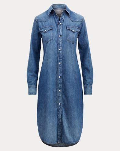 폴로 랄프로렌 데님 셔츠 원피스 라이트 인디고 Polo Ralph Lauren Denim Western Shirtdress,Light Indigo