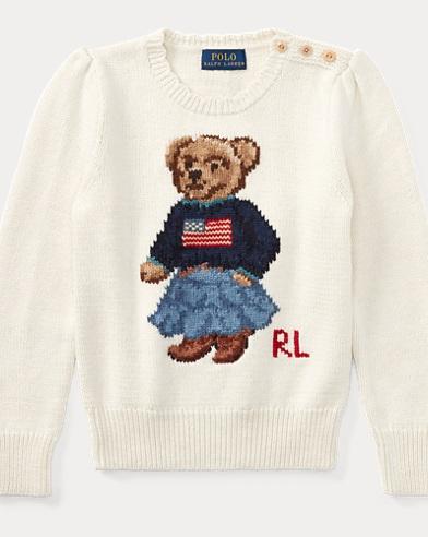 폴로 랄프로렌 여아용 스웨터 크림 Polo Ralph Lauren Polo Bear Cotton Sweater,Essex Cream