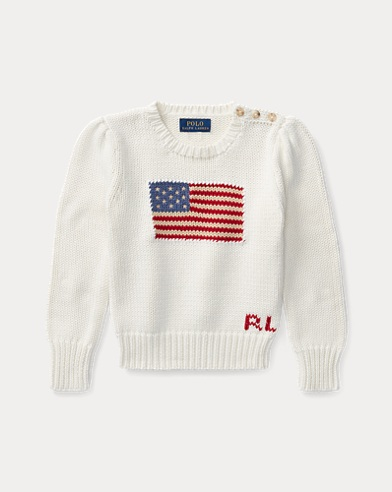 폴로 랄프로렌 걸즈 스웨터 크림 Polo Ralph Lauren Flag Cotton Crewneck Sweater,Essex Cream