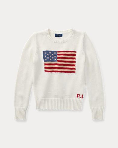 폴로 랄프로렌 걸즈 스웨터 크림 Polo Ralph Lauren Flag Cotton Crewneck Sweater,Essex Cream