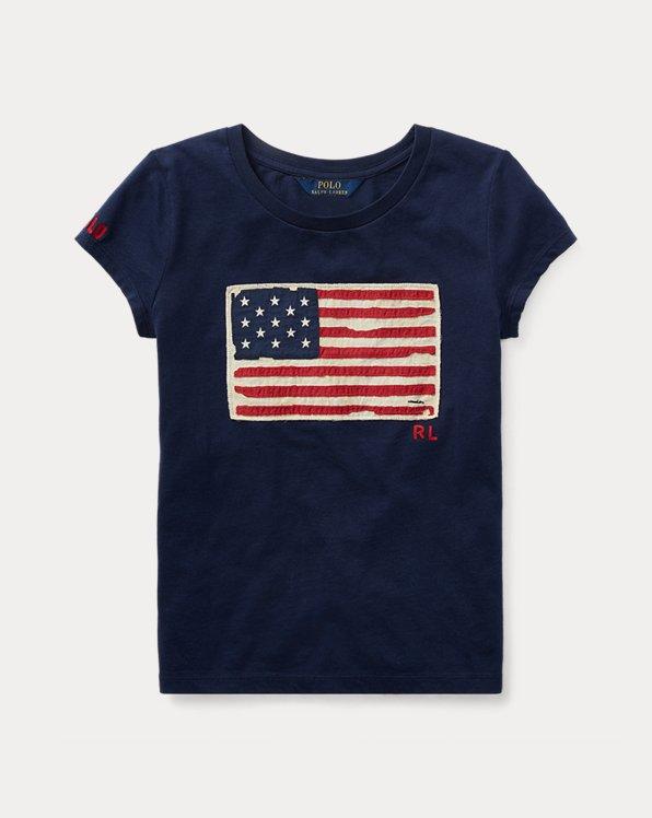폴로 랄프로렌 걸즈 티셔츠 Polo Ralph Lauren Flag Cotton Jersey Tee,Newport Navy