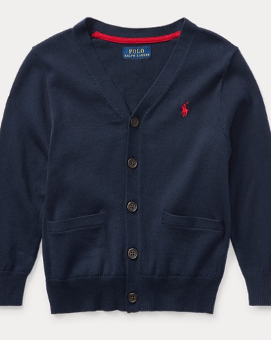 폴로 랄프로렌 남아용 V-넥 가디건 네이비 Polo Ralph Lauren Cotton V-Neck Cardigan,Hunter Navy