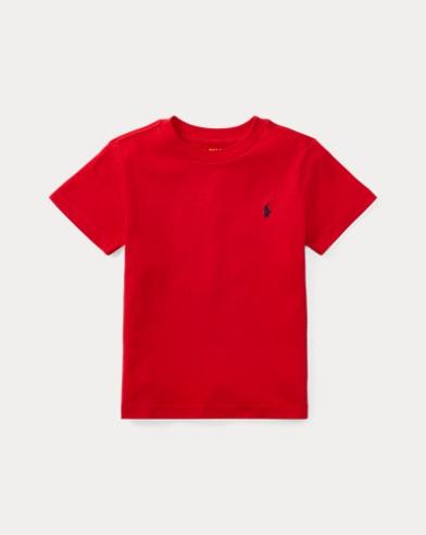 폴로 랄프로렌 남아용 반팔 티셔츠 레드 Polo Ralph Lauren Cotton Jersey Crewneck T-Shirt,Rl 2000