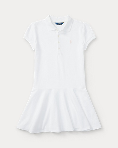 폴로 랄프로렌 걸즈 원피스 화이트 Polo Ralph Lauren Stretch Cotton Mesh Polo Dress,White