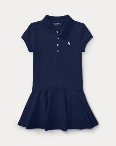 폴로 랄프로렌 여아용 반팔 폴로 원피스 - 네이비 Polo Ralph Lauren Short-Sleeve Polo Dress,Navy