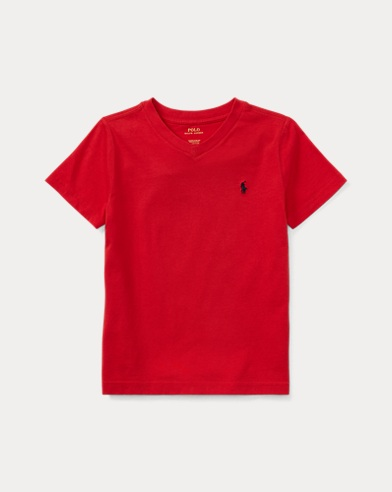 폴로 랄프로렌 남아용 반팔 V넥 티셔츠 레드 Polo Ralph Lauren Cotton Jersey V-Neck T-Shirt,Rl2000 Red