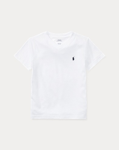 폴로 랄프로렌 남아용 반팔 V넥 티셔츠 화이트 Polo Ralph Lauren Cotton Jersey V-Neck T-Shirt,White