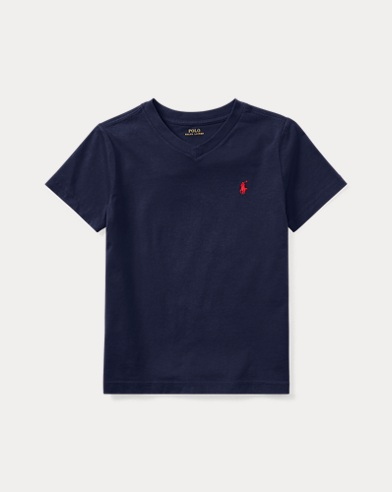 폴로 랄프로렌 남아용 반팔 V넥 티셔츠 네이비 Polo Ralph Lauren Cotton Jersey V-Neck T-Shirt,Cruise Nav