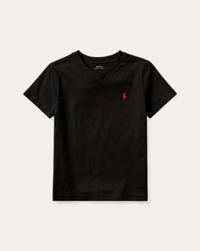 폴로 랄프로렌 남아용 반팔 V넥 티셔츠 블랙 Polo Ralph Lauren Cotton Jersey V-Neck T-Shirt,Polo Black