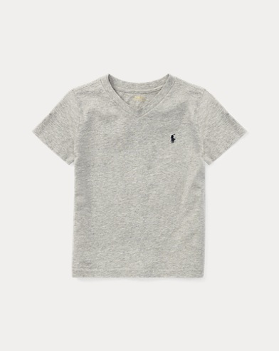 폴로 랄프로렌 남아용 반팔 V넥 티셔츠 그레이 Polo Ralph Lauren Cotton Jersey V-Neck T-Shirt,Andver Htr