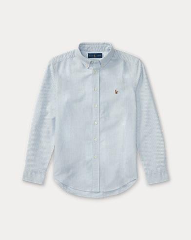 폴로 랄프로렌 보이즈 스트라이프 셔츠 Polo Ralph Lauren Striped Cotton Oxford Shirt,Light Blue Stripe