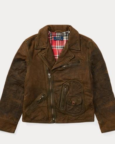 폴로 랄프로렌 보이즈 자켓 브라운 Polo Ralph Lauren Leather Moto Jacket,Brown
