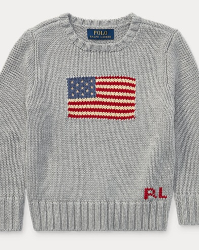 폴로 랄프로렌 남아용 스웨터 Polo Ralph Lauren Flag Cotton Crewneck Sweater,Grey Heather