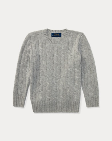 폴로 랄프로렌 남아용 꽈배기 스웨터 그레이 Polo Ralph Lauren Cable-Knit Cashmere Sweater,Medium Grey Heather