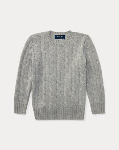 폴로 랄프로렌 남아용 꽈배기 캐시미어 스웨터 그레이 Polo Ralph Lauren Cable-Knit Cashmere Sweater,Medium Grey Heather