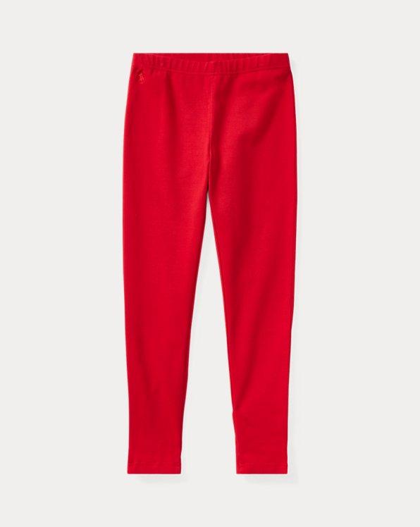 폴로 랄프로렌 걸즈 레깅스 Polo Ralph Lauren Bow-Back Jersey Legging,Park Ave Red