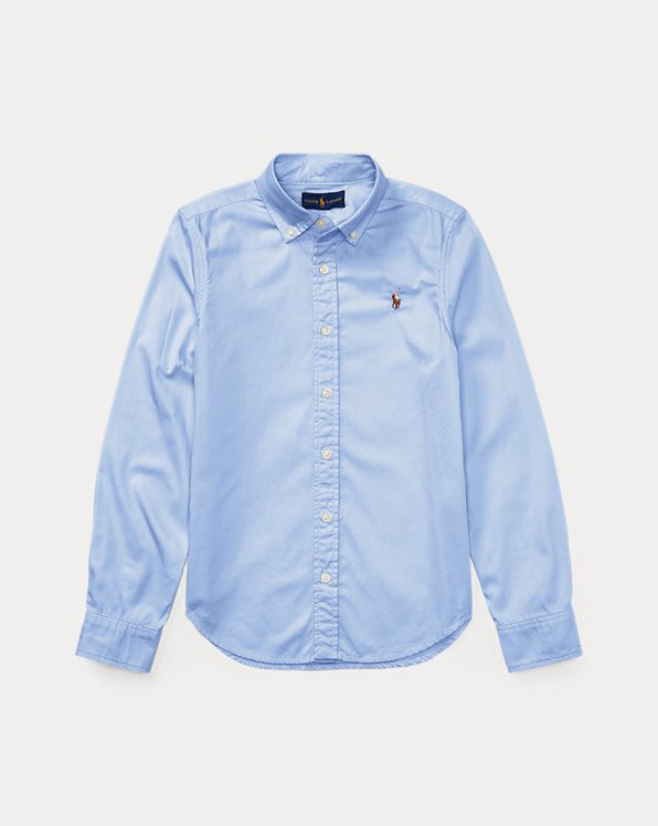 폴로 랄프로렌 걸즈 옥스포드 셔츠 Polo Ralph Lauren Cotton Oxford Shirt,Blue Hyacinth