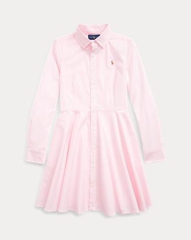 폴로 랄프로렌 걸즈 코튼 옥스포드 셔츠원피스 - 핑크 Polo Ralph Lauren Cotton Oxford Shirtdress, Deco Pink, 401797