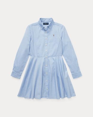 폴로 랄프로렌 걸즈 코튼 옥스포드 셔츠원피스 - 블루 Polo Ralph Lauren Cotton Oxford Shirtdress, Blue Hyacinth, 401797