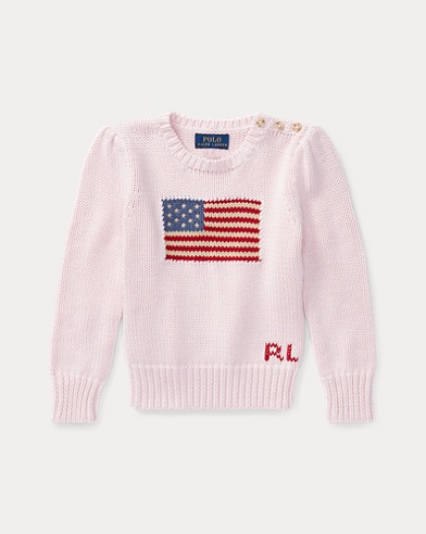 폴로 랄프로렌 여아용 스웨터 Polo Ralph Lauren Flag Cotton Crewneck Sweater,French Pink