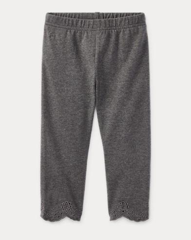 폴로 랄프로렌 여아용 레깅스 그레이 Polo Ralph Lauren Eyelet-Cuff Capri Legging,Stadium Grey Heather