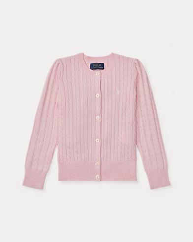 폴로 랄프로렌 여아용 가디건 핑크 Polo Ralph Lauren Mini-Cable Cotton Cardigan, Hint Of Pink