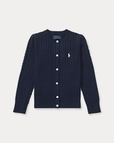 폴로 랄프로렌 여아용 가디건 Polo Ralph Lauren Mini-Cable Cotton Cardigan,헌터 Hunter Navy