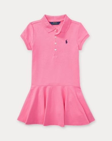 폴로 랄프로렌 여아용 반팔 폴로 원피스 - 핑크 Polo Ralph Lauren Short-Sleeve Polo Dress,Pink
