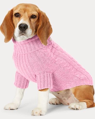 폴로 랄프로렌 강아지 꽈배기 캐시미어 스웨터 - 핑크 Polo Ralph Lauren Cable Cashmere Dog Sweater, Carmel Pink