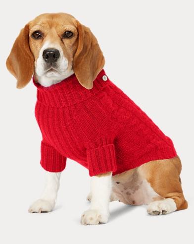 폴로 랄프로렌 강아지 꽈배기 캐시미어 스웨터 - 레드 Polo Ralph Lauren Cable Cashmere Dog Sweater,Country Red