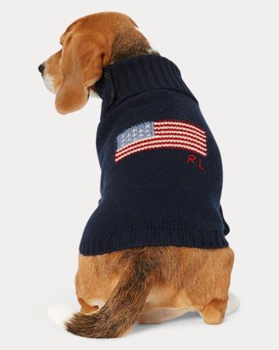 폴로 랄프로렌 강아지 성조기 울캐시미어 스웨터 - 네이비 Polo Ralph Lauren Flag Wool-Cashmere Dog Sweater,Navy