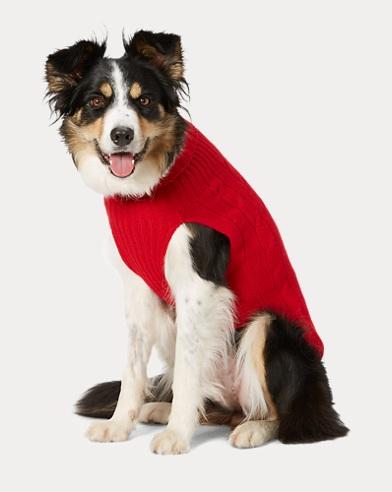 폴로 랄프로렌 강아지 꽈배기 캐시미어 스웨터 - 컨츄리 레드 Polo Ralph Lauren Cable Cashmere Dog Sweater,Country Red