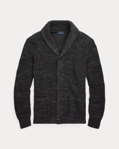 폴로 랄프로렌 Polo Ralph Lauren Cotton Shawl-Collar Cardigan,Coal Ragg