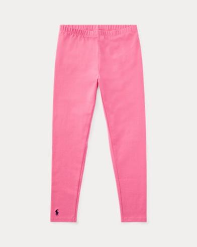 폴로 랄프로렌 걸즈 레깅스 핑크 - 브라이트 핑크, 핑크 쥬얼 Polo Ralph Lauren Stretch Cotton Jersey Legging