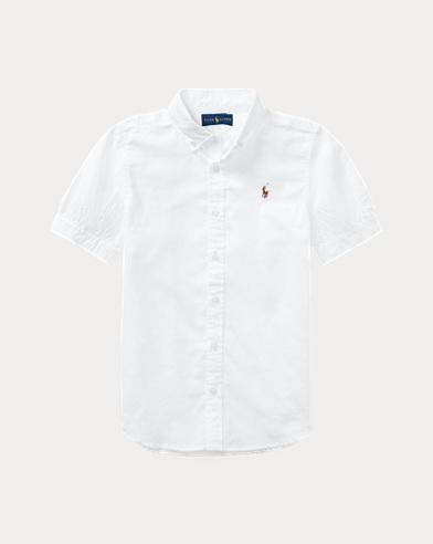 폴로 랄프로렌 걸즈 반팔 카라티 화이트 Polo Ralph Lauren Oxford Shirt,White