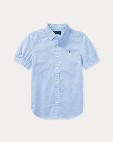 폴로 랄프로렌 걸즈 반팔 카라티 블루 Polo Ralph Lauren Oxford Shirt,Blue