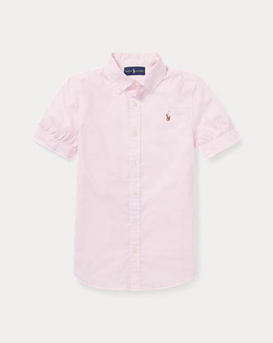 폴로 랄프로렌 걸즈 반팔 카라티 핑크 Polo Ralph Lauren Oxford Shirt,Pink