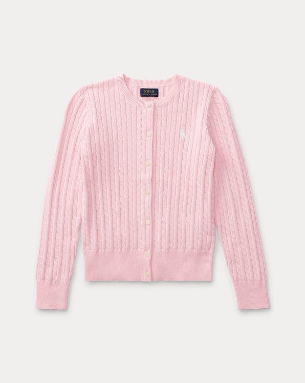폴로 랄프로렌 걸즈 꽈배기 니트 가디건 Polo Ralph Lauren Mini-Cable Cotton Cardigan,Pink