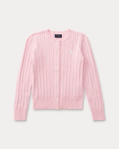 폴로 랄프로렌 걸즈 가디건 핑크 Polo Ralph Lauren Mini-Cable Cotton Cardigan,Pink