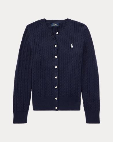 폴로 랄프로렌 걸즈 가디건 네이비 Polo Ralph Lauren Mini-Cable Cotton Cardigan, Hunter Navy