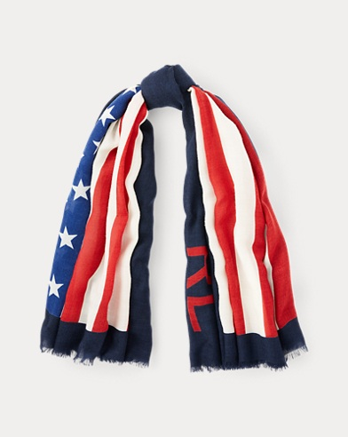 폴로 랄프로렌 Polo Ralph Lauren Flag Wool Scarf,Navy