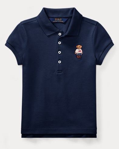 폴로 랄프로렌 여아용 반팔 카라티 네이비 Polo Ralph Lauren Polo Bear Mesh Polo Shirt,Newport Navy