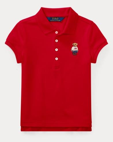 폴로 랄프로렌 여아용 반팔 카라티 레드 Polo Ralph Lauren Polo Bear Mesh Polo Shirt,Course Red