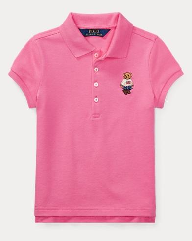 폴로 랄프로렌 여아용 반팔 카라티 핑크 Polo Ralph Lauren Polo Bear Mesh Polo Shirt,Baja Pink