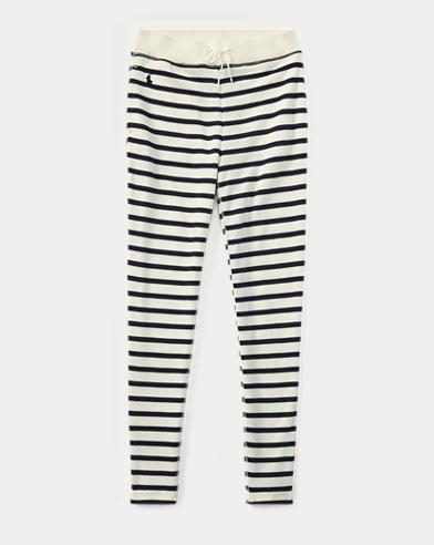폴로 랄프로렌 Polo Ralph Lauren Striped French Terry Legging,Cream/Navy