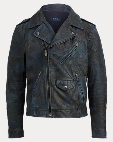 폴로 랄프로렌 바이커 가죽 자켓 (인디고 카모) Polo Ralph Lauren Camo Leather Biker Jacket,Indigo Camo