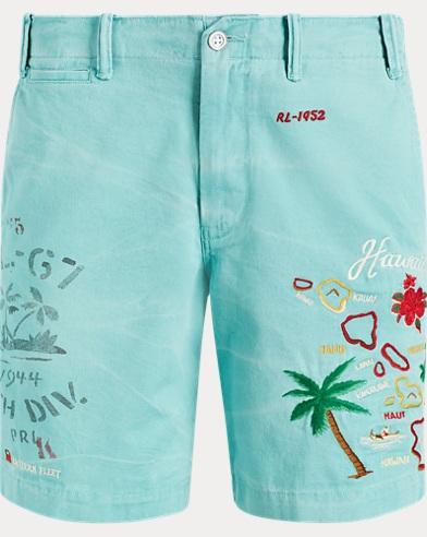 폴로 랄프로렌 Polo Ralph Lauren Straight Fit Linen-Blend Short,Tiki Green